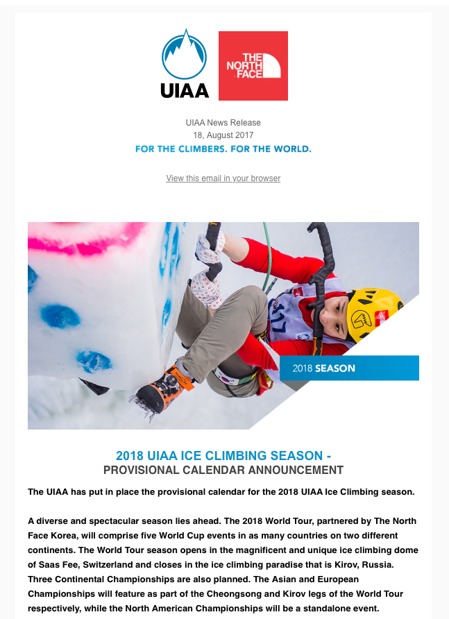Revamped UIAA News Releases