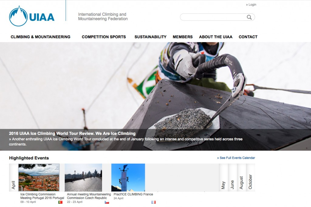 Old and new, UIAA websites